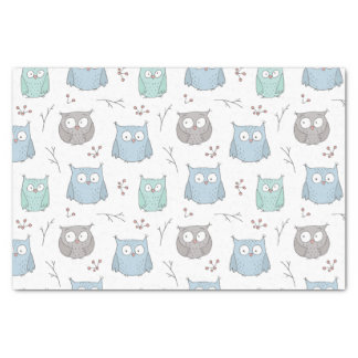 Whimsy Winter Owls Pattern Tissue Paper Seidenpapier