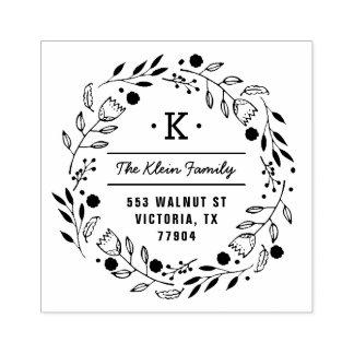 Whimsy Wreath-Monogramm-Adressen-Briefmarke Gummistempel