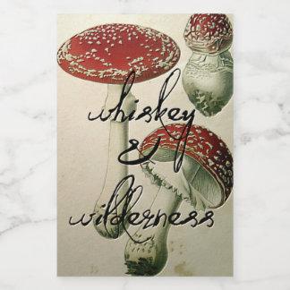 Whisky-u. Wildnis-Pilz-Flaschen-Aufkleber Lebensmitteletikett