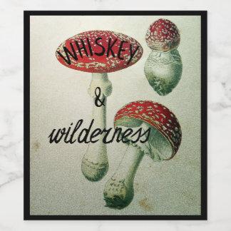 Whisky-u. Wildnistoadstool-Flaschen-Aufkleber Weinetikett