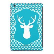 White Deer Head Blue Quatrefoil iPad Mini Case
