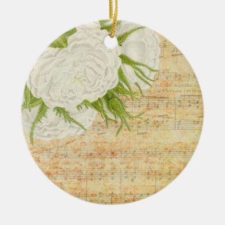 white roses and music keramik ornament