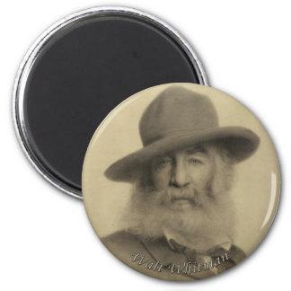 Whitman le bon poète gris magnet rond 8 cm