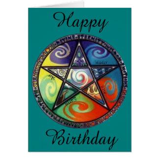 Wiccan Pentagram-Geburtstag Grußkarte