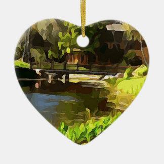 Wicklungs-Fluss und Brücke am Erholungsort Keramik Herz-Ornament