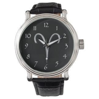 Widder Tierkreis-Schwarz mit silbernem Glyph Uhr