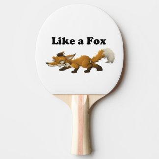 Wie ein Cartoon-Witz-Wortspiel Fox lustiges Tischtennis Schläger
