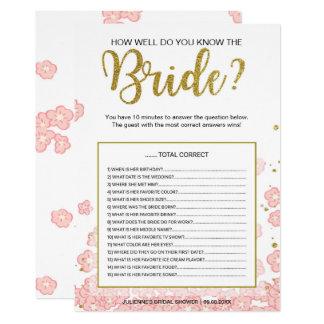 Wie gut Sie das rosa Gold des Braut-Spiel-| kennen 12,7 X 17,8 Cm Einladungskarte