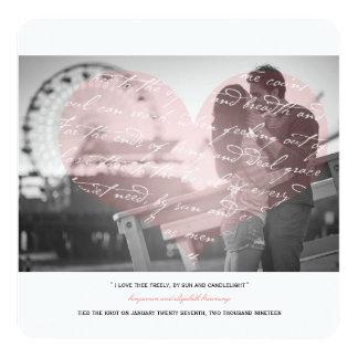 Wie i-Liebe Thee Gedicht-Hochzeits-Foto-Mitteilung Quadratische 13,3 Cm Einladungskarte