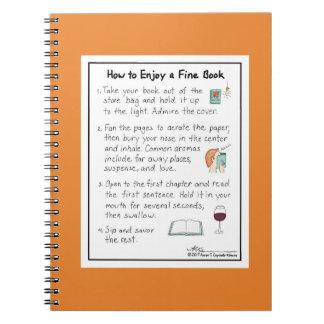 Wie man ein feines Buch-Orangen-Notizbuch genießt Spiral Notizblock