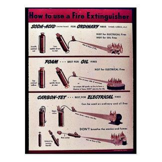 Wie man einen Feuerlöscher benutzt Postkarte