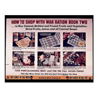 Wie man mit Kriegs-Zuteilungs-Buch zwei kauft Postkarte