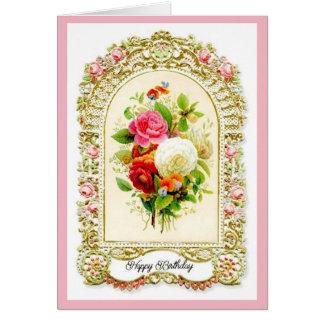 Wieder hergestellte rosa Vintage Grußkarte