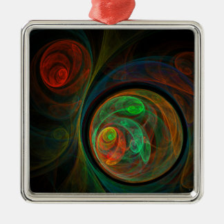 Wiedergeburt-grünes abstraktes Kunst-Quadrat Quadratisches Silberfarbenes Ornament