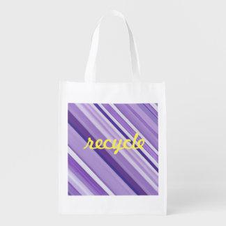 Wiederverwendbare lila Tasche des Streifens Wiederverwendbare Einkaufstasche