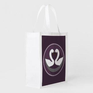 Wiederverwendbare Tasche LIEBE-SCHWÄNE Wiederverwendbare Einkaufstasche