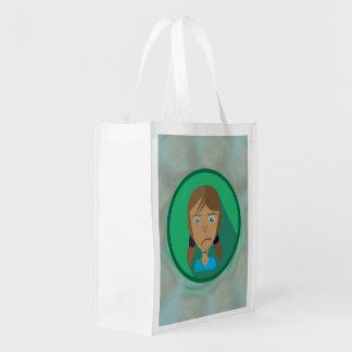 Wiederverwendbare Tasche TRAURIGER MÄDCHEN-CARTOON Wiederverwendbare Einkaufstasche