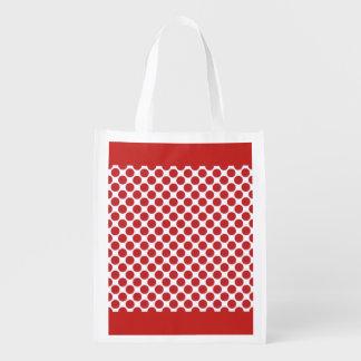 Wiederverwendbare Taschen-Rot-Tupfen Wiederverwendbare Einkaufstasche