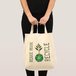Wiederverwendung verringern recyceln Baum-Erdkugel Tragetasche