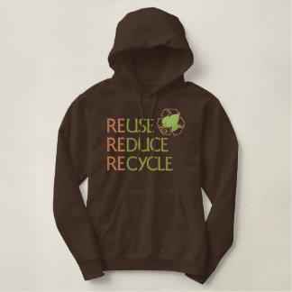 Wiederverwendung verringern recyceln bestickter hoodie
