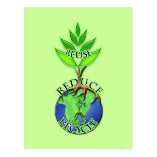 Wiederverwendung verringern recyceln postkarte