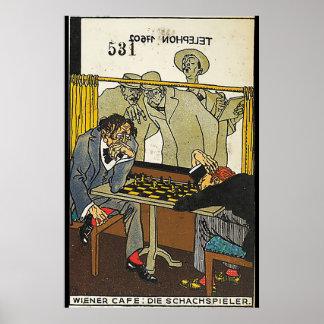 Wiener Café: Die Schach-Spieler (Dackel Café: Die Poster