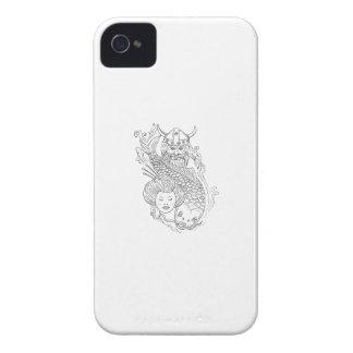 Wikinger-Karpfengeisha-Kopf-Schwarzweiss-zeichnen Case-Mate iPhone 4 Hüllen