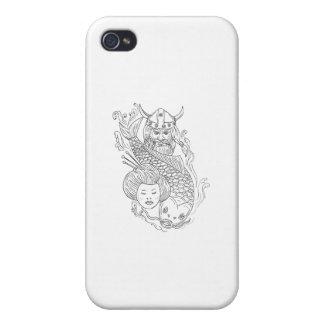 Wikinger-Karpfengeisha-Kopf-Schwarzweiss-zeichnen iPhone 4 Case