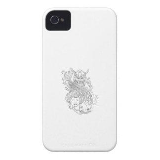 Wikinger-Karpfengeisha-Kopf-Schwarzweiss-zeichnen iPhone 4 Case-Mate Hüllen