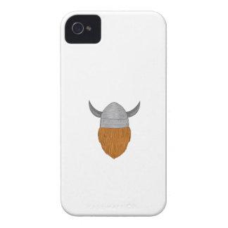 Wikinger-Krieger-Kopf-hintere Ansicht-Zeichnen iPhone 4 Hüllen