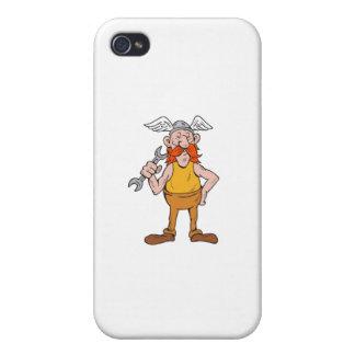 Wikinger-Schlosser-stehender Schlüssel-Cartoon iPhone 4/4S Hülle
