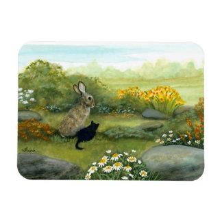 Wild lebende Tiere wundern sich Kaninchen und das Magnet