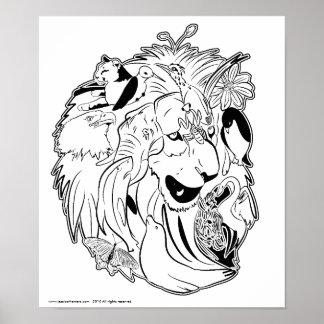 Wild über Tier-Tier-Plakat Poster