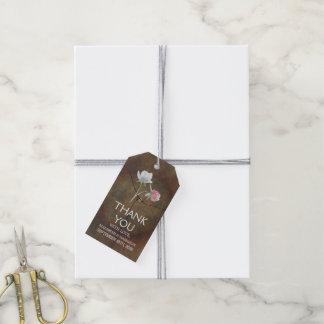 Wildblume-Eichen-Holz-Hochzeit Geschenkanhänger