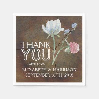 Wildblume-Eichen-Holz-Hochzeit Papierservietten