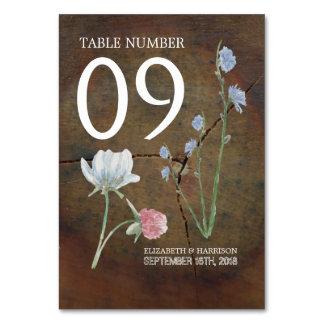 Wildblume-Eichen-Holz-Hochzeits-Tabelle nein Karte