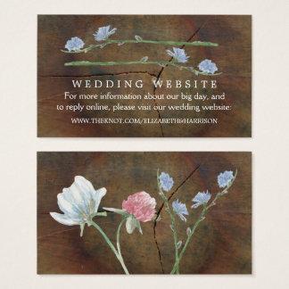 Wildblume-Eichen-Holz-Hochzeits-Website Visitenkarte