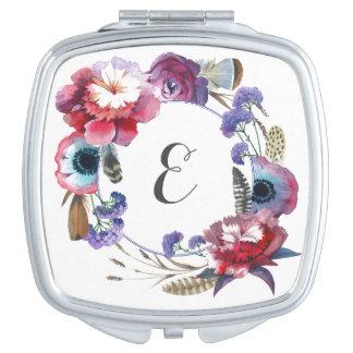 Wildblume-Pfingstrose mit Blumen mit Monogramm der Taschenspiegel