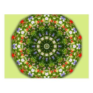 Wildblumen, Blume-Mandala Postkarte