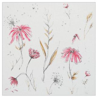 Wildblumen-Rosa u. Senf Stoff