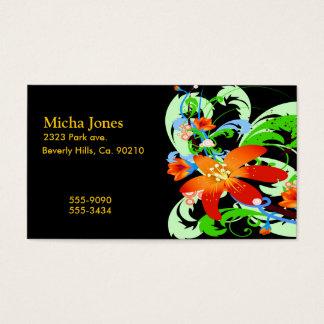 Wildblumen u. Reben auf Schwarzem Visitenkarte