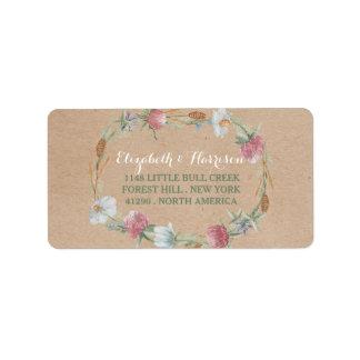 WildblumeWreath auf Kraftpapier-Land-Hochzeit Adress Aufkleber