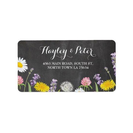 Wilde Blumen-elegante Kreide-Adressen-Etiketten Adressaufkleber