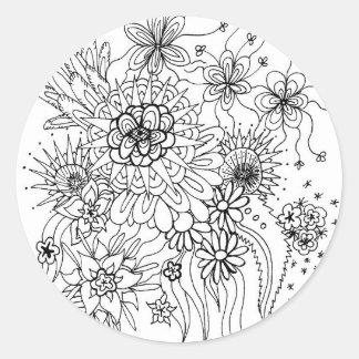Wilde Blumen Runder Aufkleber