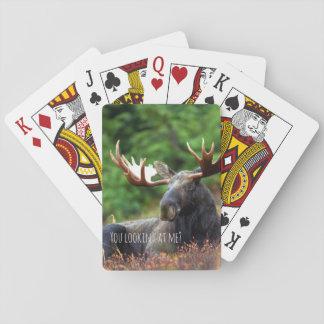 Wilde Elche auf Hügel mit Haltung im WaldFoto Spielkarten