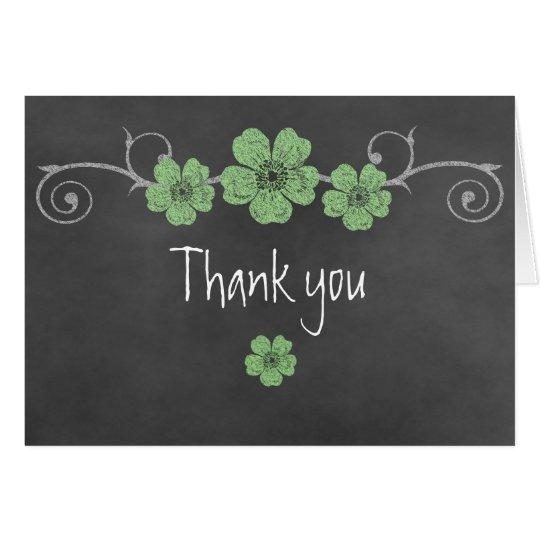 Wilde grüne Rosen-Tafel danken Ihnen Karte