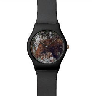 Wilde kanadische Elche in Winter-Wald II Armbanduhr