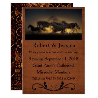 Wilde laufende Pferde u. Brown-Hintergrund-Western 12,7 X 17,8 Cm Einladungskarte