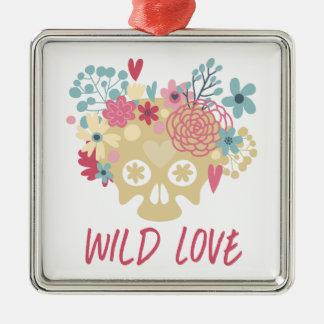 Wilde Liebe-Blumen Silbernes Ornament
