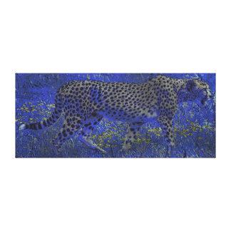 Wilde Nacht-anpirschende Gepard-Jagd-Tier-Kunst Leinwanddruck